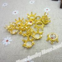 130 pcs Charms Imperial crown Pendant  Gold color  Zinc Alloy Fit Bracelet Necklace DIY Metal Jewelry Findings