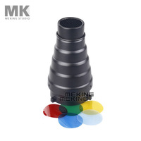 Photography Studio Flash MK(S) Conical Snoot Light Control for Bowens Strobe with Gel Filter Color