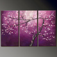 MODERN ABSTRACT HUGE WALL ART OIL PAINTING ON CANVAS 3P (with framed) A24