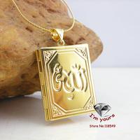 JH60022020 New Arriveal  Classic18K Gold Plated fashion Muslim Allah islamic book pendant 2pcs/lot  Freeshipping