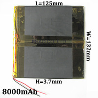 3.7V 8000mAh 37132125 Lithium Polymer Li-Po Rechargeable Battery For GPS PSP DVD Power bank PAD DIY E-Book Tablet PC