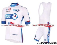 2013 New Arrival high quality FDJ jerseys+bib pants shorts white and blue bib short sleeve cycling wear clothes bicycle/bike