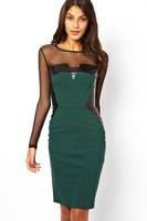 vestido de verao Green Midi Dress with PU and Mesh Inserts with keyhole back long sleeve Elegant vestido leopardo stunning dress