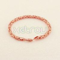 New Arrival Rose Gold Jewelry Women's Men's Exquisite Byzantine Chain Bracelet 4.5MM 23CM ROSE GOLD Filled Bracelet RB71