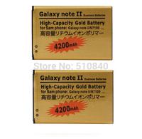 2PCS High Capacity 4200mah Gold Li-ion Golden Battery For Samsung Galaxy Note 2 II Note2 N7100 Batterie Batterij Bateria