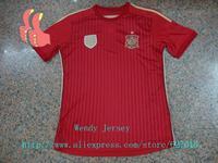 A+++ Top Grade Fan Issue Embroidery Logos Spain 14 15 Spanish Soccer Jerseys Futbol Customize Xavi Iniesta Fabregas Pedro