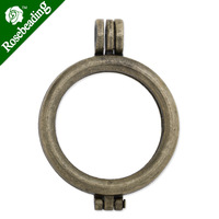 34.5mm Antique Bronze Plated Round Lockets Pendant,inner size 32mm,Sold 5pcs/lot-C3339