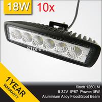"Wholesale 10 PCS 6"" Inch 18W Mini LED Work Drive Light Bar IP67 12V 24V For Motorcycle TRAILER 4WD ATV 4X4 BOAT FLOOD SPOT"