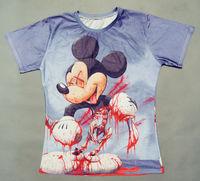 2014 Harajuku Bloody Mickey Mouse Skeleton 3D Printed Short Sleeve Tops Tshirts Men Women Free ShippingM05696