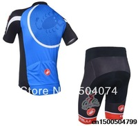 2014 NEW!!! Castelli blue short sleeve cycling jersey wear clothes bicycle/bike/riding jersey+pants shorts