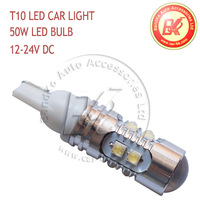 2 pcs T10 168 194 184 Car LED Clearance Bulbs 12-24V DC 50W With High Power LEDs White/ Red Free Shipping