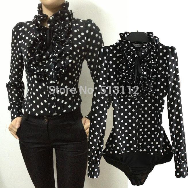 New 2015 Hot Fashion Korea Style Vintage Chiffon Polka Dots Women's Body Blouse Tops Shirt Stand Collar Ruffles S M L XL SY0185(China (Mainland))