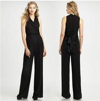 Women's fashion elegant chiffon jumpsuits belt slim high waist sleeveless V-neck overalls Plus size XS-XXL  WI223