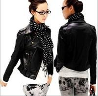 2014 new fashion spring summer casual leather jacket lapel zipper punk rivet autumn winter women motorcycle biker jacket M,L