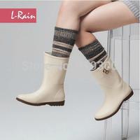 2014 Hot New Women Rubber Fashion Rain Boots Waterproof Beige Color Flats Rainboots Short Mid-carf Water Shoes #TS17