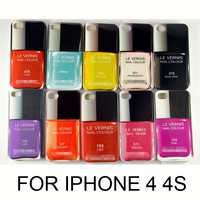 2014  LE VERNIS Nail With LOGO hard Case for Apple iPhone 4 4S 1pcs Free Shipping