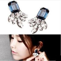B333 Special Offer Trendy Women Crystal New 2014 Fashion Square Big Gem Hyperbole Drop Earrings Jewelry Accessories