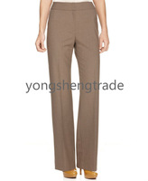 Straight-Leg Taupe Trousers Custom Made Pants Straight Trouser Leg No Belt Loops And Pockets Full  unlined YS13