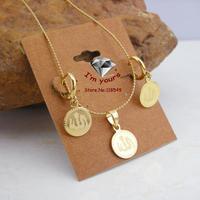 TZJH60020458 18K Gold Filled Laser engraving Muslim Allah islamic  Fashion Jewelry Set