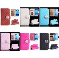 5PCS/Lot Plaid Grid Diamond Camellia Flower Flip Stand Leather Wallet Case for Galaxy S4 Mini Samsung i9190 i9195