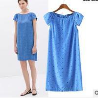 2015 summer new European style little blue short sleeve dress women casual cotton party lady dress