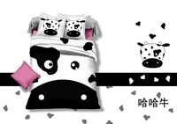 fashion cow print bedding,500TC bedding sets without filler,white and black cow bedspreads,queen king twin size cow bedclothes