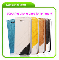 50pcs/lot Fashion Classical Modern Premier Artificial Leather Case Cover protective shell for iPhone 5 5G