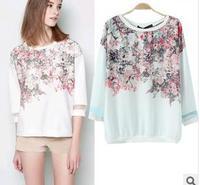 2014 summer new brand fashion flowers Printe  T shirts women slim casual chiffon lady t shirt