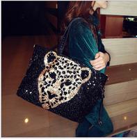 Free Shipping New Arrival 2014 shoulder bags women leather Leopard handbags women messenger bags women handbag totes BA0004