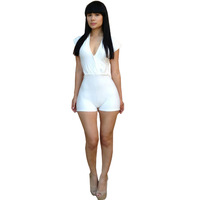 Fashion Sexy Lady V-neck Low-cut Hollow-out Conjoined White Shorts Free Shipping 2014 Summer New  S,M,L13672