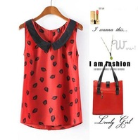 CL1570 European Style Chiffon Fashion Peter Pan Collar Leaves Print Sleeveless Tops Blouse Women Shirt  Summer Lady Wear