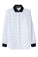 New White Navy Women Shirt Polka Dots Chiffon Vintage Blouse Long Sleeve big size S-L free shipping