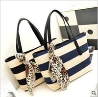 PROMOTION New 2014 Fashion Women Big Capacity Canvas Handbags Navy Stripe Single Shoulder Bag Silk Totes Bags Free shipping