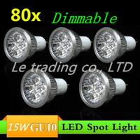 80pcs/lot GU10 15W AC85-265V High Power LED Light Bulb LED Lamp Spotlight Downlight Free shipping