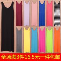 Spring and summer modal full dress fashion bohemia one-piece dress one-piece beach dress vest female spaghetti strap