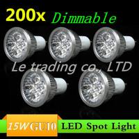 200pcs/lot GU10 15W AC85-265V High Power LED Light Bulb LED Lamp Spotlight Downlight Free shipping
