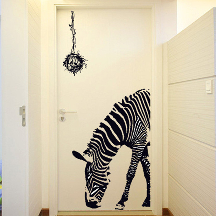 Zebra wallpaper Movable wall sticks PVC transparent membrane wall home decoration Wall sticker(China (Mainland))
