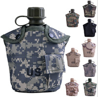 Free shipping USThree-piece Camouflage Insulation kettle Army fans Camping hiking portable Outdoor kettle with aluminum cup 1L