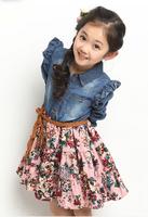 retail 2014 spring summer girls dress Big children layered children's clothing dress long-sleeve denim floral print dress H523