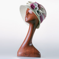 Mahogany Mannequin Manikin Female Long Neck Head Stand Model for Wig hair Glasses Hat Jewelry Display