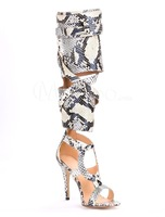 Fall knee high sandal boots women python printing high heel gladiator boots strappy buckle booty dress shoes plus size