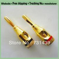10pcs/lot!Free shipping+High quality Gold plated speaker banana head banana plug audio plug amplifier speaker plug