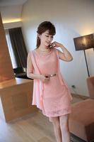 Women Fashion Lace Princess Dresses Casual Lady Spring And Summer Chiffon Dress M L XL