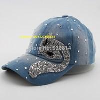 Fashion rhinestone denim casual baseball cap female hat spring and summer sun-shading cap outdoor sports cap