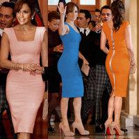 Pink Blue Orange Women Sleeveless Bodycon Dresses Lady Evening Party Sexy Dress Clubwear Club Clothings M L XL