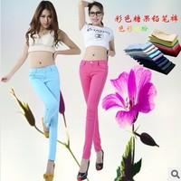 2013 New 24 Color Candy Color Women Jeans Pencil Pants Lady Trendy Trousers Spring / Summer Autumn Elastic Pants,25 -31 Size