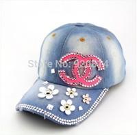 Hat female diy handmade rhinestone denim baseball cap water wash cap sunbonnet