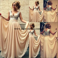 2014 Custom Made Vestidos De Renda Sexy Champagne With Sequins V Neck Long pageant Celebrity Dresses