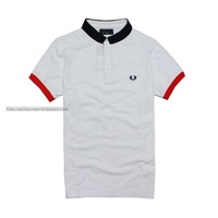 2014 British fashion short-sleeved t-shirt men wheat  cotton lapel Slim-type