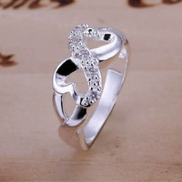2014 new 925 Silver Heart Rings 8-Shape Wedding party engagement lovers rings fashion jewelry gift Size 6,7.8.9,10